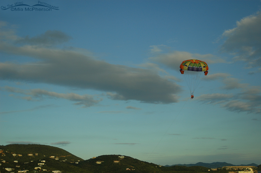 Evening parasailers over St Thomas