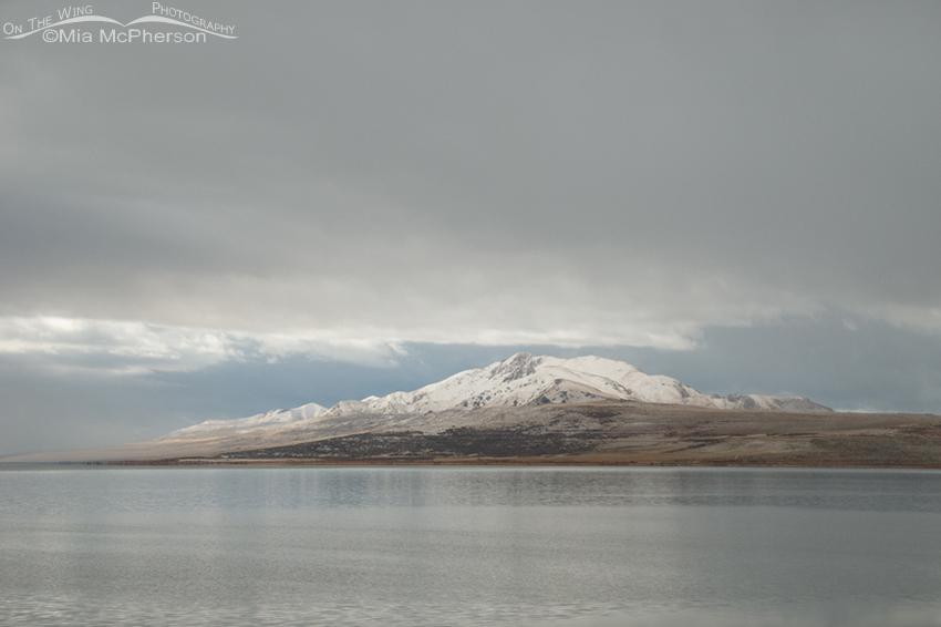 Antelope Island under heavy clouds