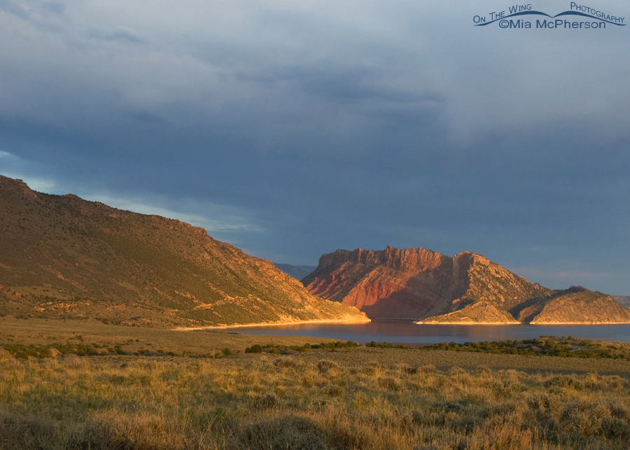 Flaming Gorge at sunrise under stormy skies