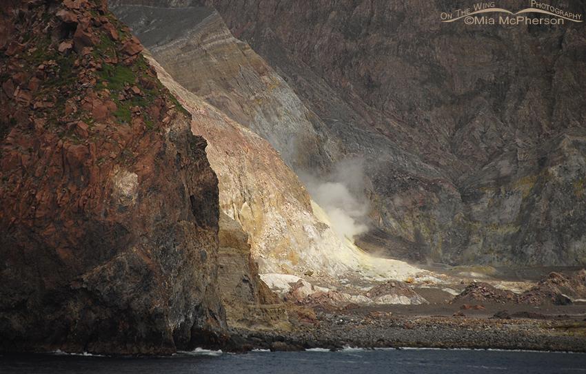 View of a steaming fumarole on Whakaari / White Island